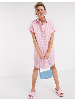 Monki wanna organic cotton oversized gingham print shirt dress in pink