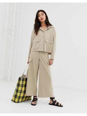 Monki wide leg cargo pants with pockets in beige