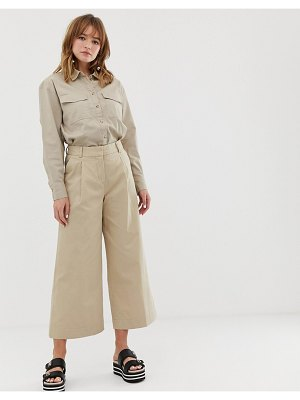 Monki wide leg cropped pants in beige