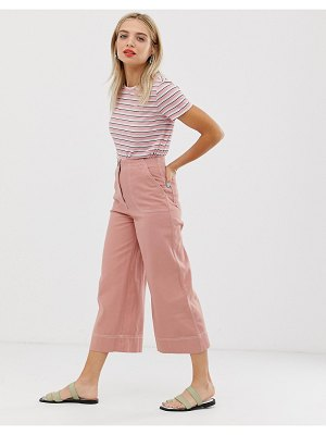 Monki wide leg pants with contrast stitching in pink