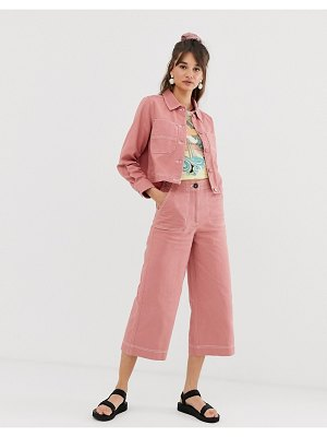 Monki wide leg utility pants in pink