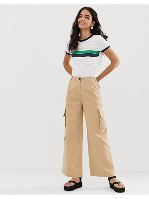 Monki wide leg utility pants with oversized pockets in beige