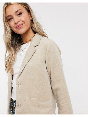 Monki winnie pocket front blazer jacket in beige