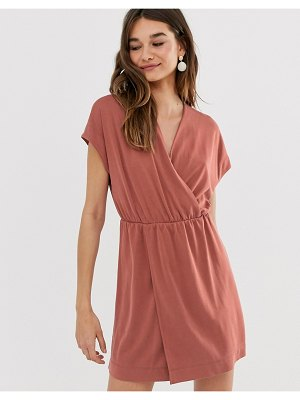 Monki wrap front mini dress in rust