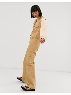 Monki yoko organic cotton wide-leg utility jeans in beige