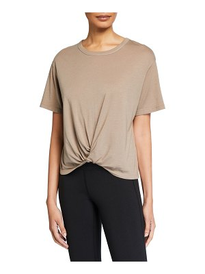 Monrow Crewneck Short-Sleeve Tee w/ Twisted Front