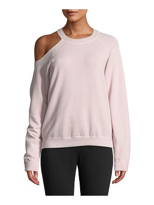 Monrow Cutout-Shoulder Crewneck Cotton Sweatshirt