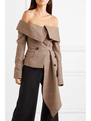 Monse off-the-shoulder asymmetric draped checked wool-blend jacket