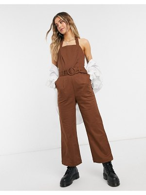 Moon River belted halterneck jumpsuit in brown