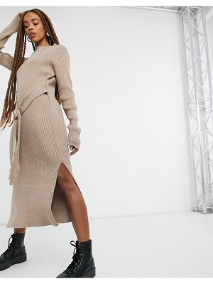 Moon River belted midi dress in taupe-brown