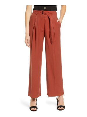 Moon River belted pleated wide leg pants