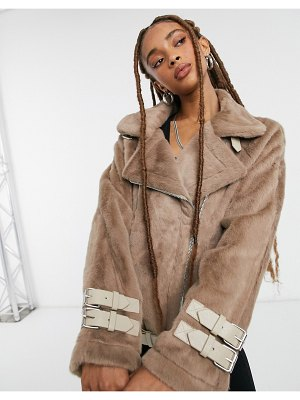 Moon River biker jacket in tan