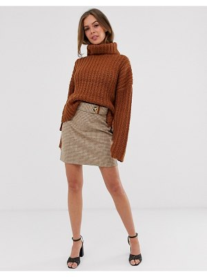 Moon River check skirt-brown