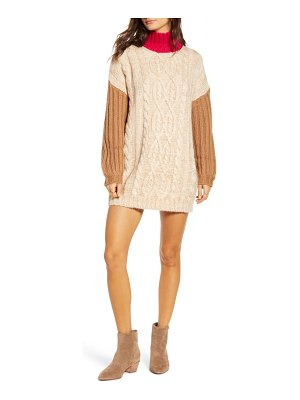 Moon River colorblock mock neck sweater dress