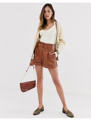 Moon River faux leather belted shorts-brown