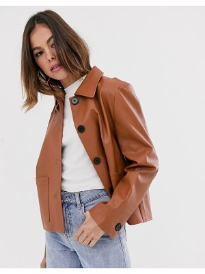 Moon River faux leather cropped jacket-brown