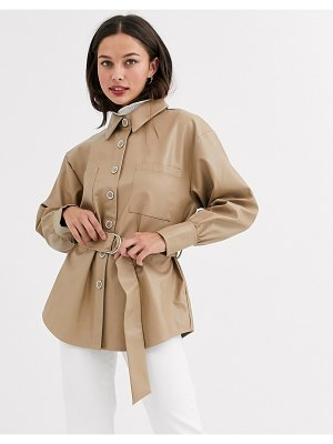 Moon River faux leather shirt with belt-beige