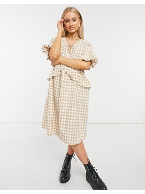 Moon River gingham oversized shift dress-beige