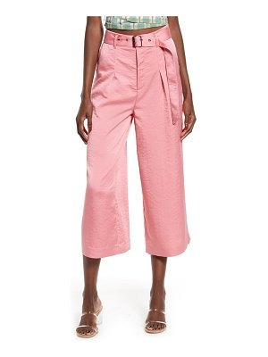 Moon River hammered satin wide leg crop pants