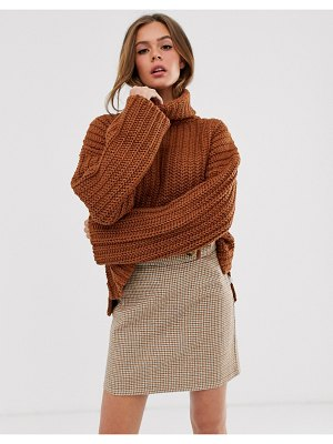 Moon River high neck slouchy sweater-brown