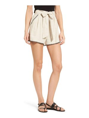 Moon River pleat blanket stitch shorts
