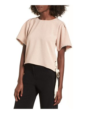 MOON RIVER Pompom Trim Lace-Up Side Top