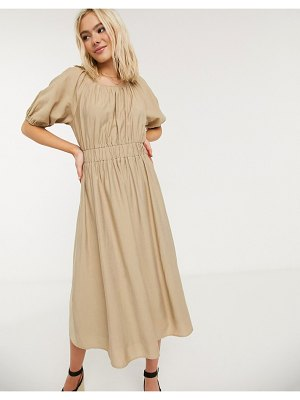 Moon River poplin midi dress-beige
