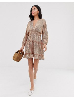 Moon River printed tiered mini dress-beige