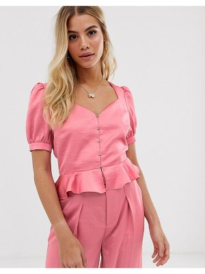 Moon River puff sleeve peplum satin top