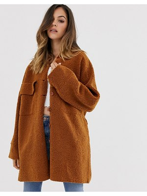 Moon River short teddy coat-brown