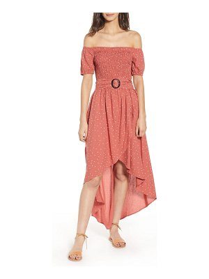 Moon River smocked off the shoulder high/low dress