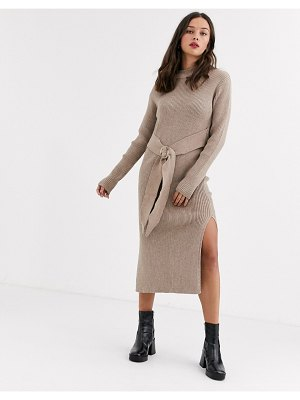 Moon River tie front knitted midi dress-beige