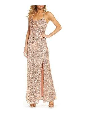 Morgan & Co. cowl neck sequin crossback body-con gown
