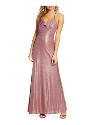 Morgan & Co. cowl neck shimmer gown