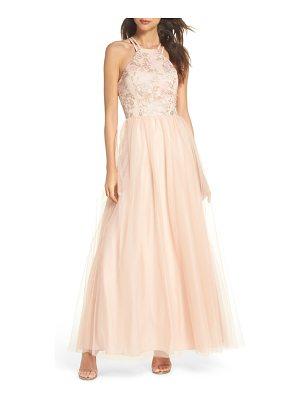 MORGAN & CO. Embroidered Bodice Fit & Flare Gown
