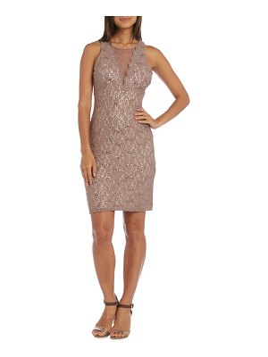 Morgan & Co. lace illusion sheath dress