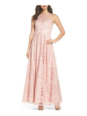 MORGAN & CO. Lace-Up Back Embroidered Gown