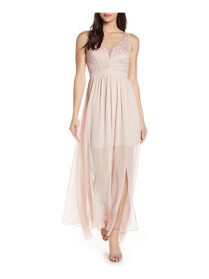 Morgan & Co. strappy lace bodice chiffon gown