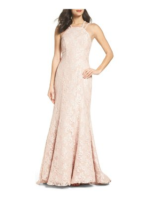 MORGAN & CO. Strappy Lace Mermaid Gown