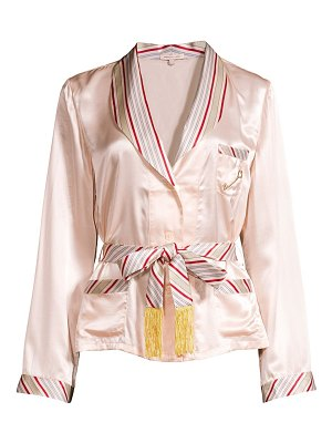Morgan Lane eloise stripe-trim tie-waist silk satin blouse