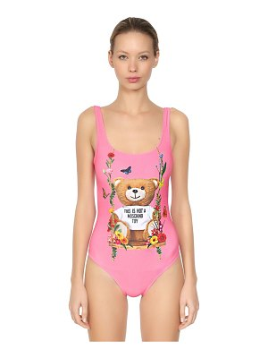 Moschino Bear print lycra one piece swimsuit