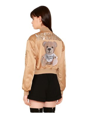 Moschino Envers satin bomber jacket w/ bear patch