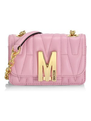 Moschino m logo quilted leather shoulder bag