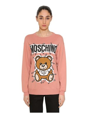 Moschino Safety pin bear intarsia cotton sweater