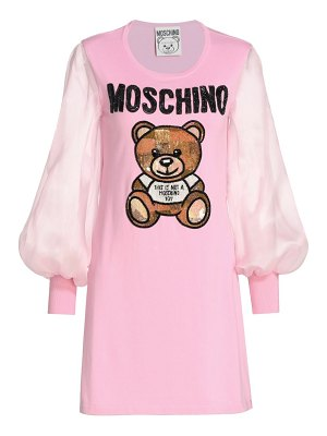 Moschino sheer-sleeve teddy bear dress