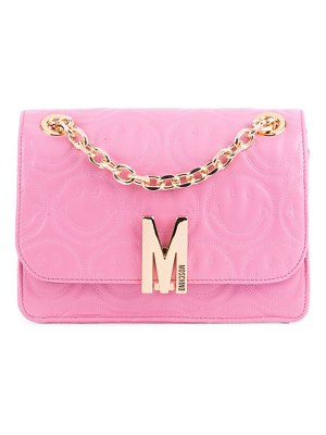 Moschino smiley-embossed leather shoulder bag