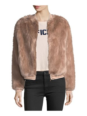 Mother Letterman Faux-Fur Bomber Jacket