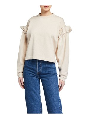 Mother Of Pearl Dani Cropped Sweatshirt w/ Pearl Shoulders