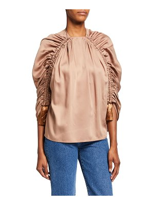 Mother Of Pearl Gathered Twill Top with Tassels