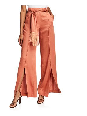 Mother Of Pearl Leo Wide-Leg Belted Twill Trousers